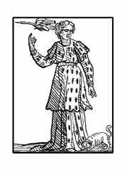 LA INVESTIGACIÓN. Del libro de Iconografía de Cesare Ripa Italia Siglo XVII. Lleva un traje  lleno de hormigas, por que estos animales son diligentísimos investigadores. Señala una grulla, por que de este modo señalaban los egipcios al hombre curioso e investigador, ya que este pájaro es de los que vuelan más alto.El perro que huele a sus pies a su vez nos muestra su afán de conocer.
