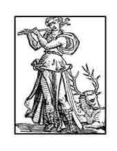 ADULACIÓN. Del libro de Iconografía de Cesare Ripa Italia Siglo XVII. Una mujer toca la flauta y un ciervo posa a sus pies embelesado por el dulce sonido del instrumento.