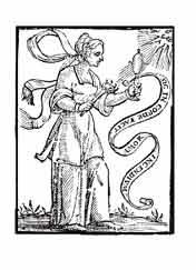 EL ORIGEN DEL AMOR. Del libro de Iconografía de Cesare Ripa Italia Siglo XVII. Una mujer sostiene una lupa enfrentada al sol, sus rayos la atraviesan y prenden una antorcha. \