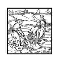 ARANDO PECES. 1552 Frase de pescadores. Dibujo y adaptación de Ex libris personal sobre el original