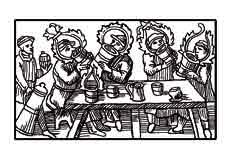 GRANDES BEBEDORES DEL NORTE. Grabado en madera por Olaus Magnus 1560. Dibujo y adaptación de Ex libris personal sobre el original
