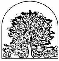 EL ÁRBOL DE LA VIDA. Mosaico del suelo de la sala del trono de Khirhet el Mefdjir, castillo omeya de la época de Walid II (734-744) Jordania. Dibujo de ex libris personal sobre el mosaico