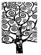 EL ÁRBOL DE LA VIDA. Gustav Klimt.  Dibujo y adaptación de Ex libris personal sobre el original
