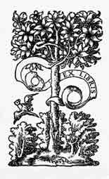 MARCA TIPOGRÁFICA. S. XVI.  Dibujo y adaptación de Ex libris personal sobre el original