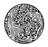 FLORES Y HOJAS DE ACANTO. dibujo de ex libris personal sobre ilustraciones de William Morris