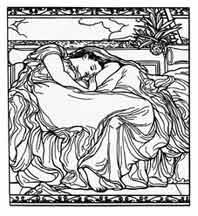 Flaming June (1895) Frederic, Lord Leigton. Dibujo y adaptación de Ex libris personal sobre el original
