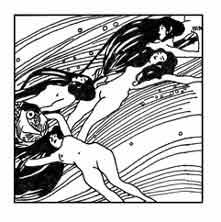 Dibujo aparecido en la revista Ver Sacrum. Gustav Klimt 1898. Dibujo y adaptación de Ex libris personal sobre el original