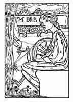 Hilandera Anónimo finales del siglo XiX, principios del XX. Dibujo y adaptación de Ex libris personal sobre el original