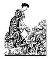 JARDINERA. Octave Uzanne, dibujo y adaptación de ex libris personal sobre el original
